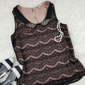 Daniel Rainn Blush Black Lace Beaded Blouse Large